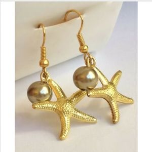 Gold Pearl Starfish Earrings Sea Life Beach Island
